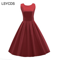 Women Elegant Vintage O Neck Inspired Rockabilly Party Gown Swing Dress