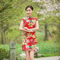 Red festival chinese traditional dress cheongsam Women Mandarin Collar chinese cheongsams qipao oriental Print Slim dresses