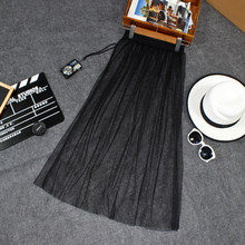 Spring Summer Women Mesh Gauze Skirt 2018 Hot Casual Sexy Elegant Transparent One Layer Elasticity High Waist Lace Black Skirt(China)