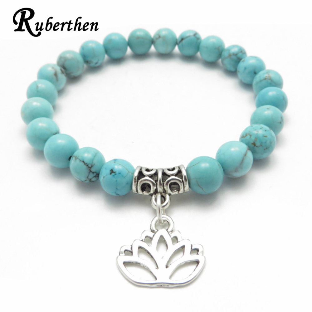 Jewelry & Accessories Constructive Ruberthen 2018 New Design Mala Bracelet Women`s Balance Yoga Jewelry High Quality Tuquoise Lotus Charm Bracelet Drop Shipping Meticulous Dyeing Processes