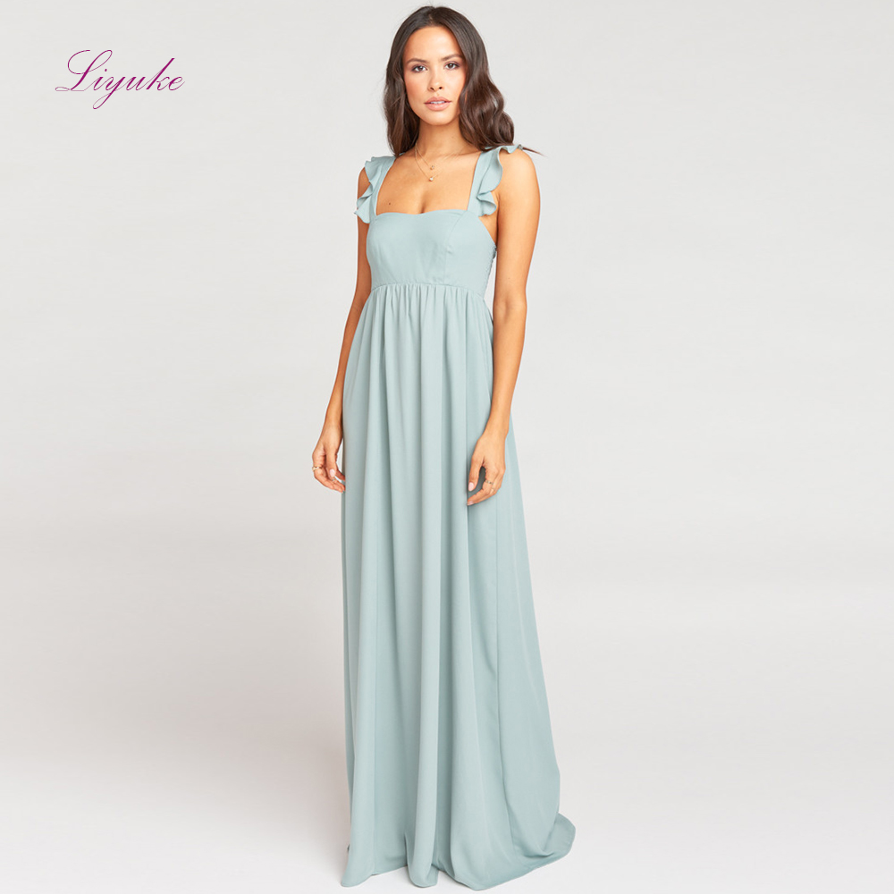 Liyuke A line   Bridesmaid     Dress   Long   Dress   Tank Ruffle Sleeves Waistband Design Chiffon Simple Design Customized Free Shipping