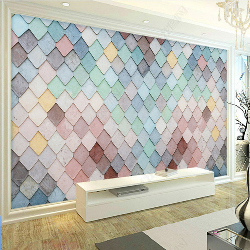 modern 3d effect wallpaper mural nordic simple fashion colorful lattice wallpaper for living room bedroom TV-set background book knowledge power channel creative 3d large mural wallpaper 3d bedroom living room tv backdrop painting wallpaper