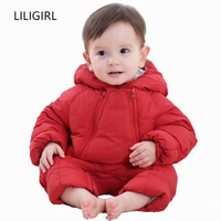 LILIGIRL Baby Girls Down Jacket Romper for Boys Thick Warm Jumpsuit Coat Overalls 2018 Winter Newborn Children Outerwear Clothes