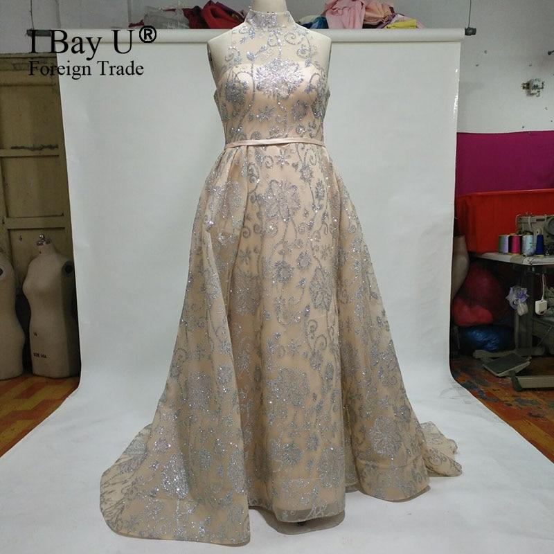 Arabic Girl Dresses Glitter Sequins Mermaid Evening Dresses Long