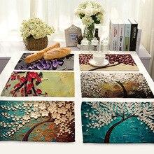 Масляная живопись цветок коврики для обеденного стола хлопок лен в западном стиле салфетка под столовые приборы кухонные украшения Аксессуары