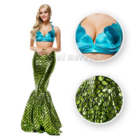Little Mermaid Cosplay Costume Mermaid Fancy Green Sexy Dress With Bra For Adults Party Show Free