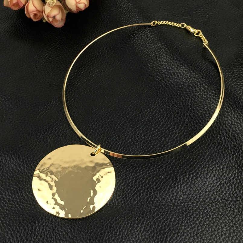 MANILAI mujeres Punk Collar gargantilla Maxi gran círculo colgantes de Metal pares collares color dorado plateado