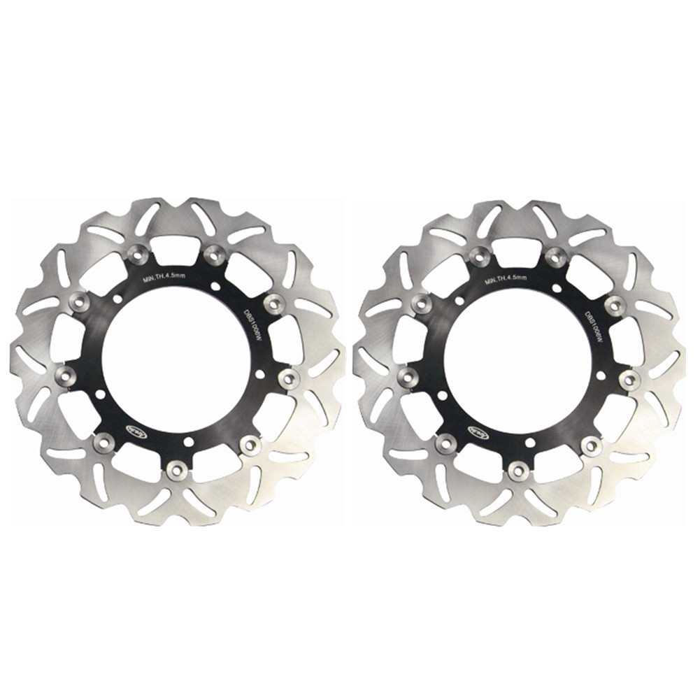 1 Pair Steel Front Brake Rotors Disc Braking Disks Left/ Right for Yamaha FZ6 Fazer 2004-2008 FZ6 FAZER S2 2007-2008 FZ600 04-08 pair steel front brake rotors disc braking disks for moto guzzi norge t gtl 850 2007 breva 1100 2005 2007 stelvio 1200 2008 2009