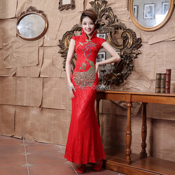 New Chinese Style Evening Dresses Glamorous High Neck Cap Sleeve Mermaid Formal Dress Long Ball Prom Party Red Lace Dress