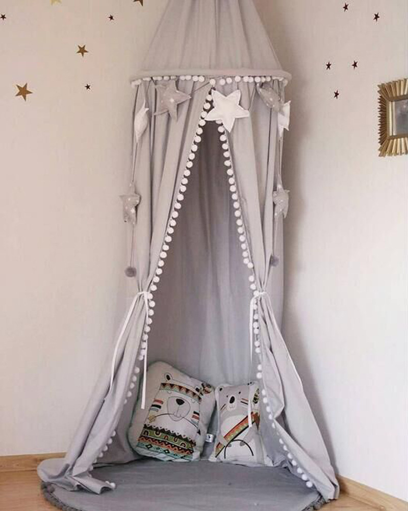 Cute Cotton baby room decoration Balls Pompom Mosquito Net Kids canopy bed curtain Round Crib Netting tent photography props