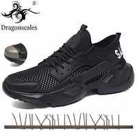 Livraison directe chaussures de sécurité pour hommes été chaussures de travail respirantes chaussures Anti-fracassant léger chaussures de Construction masculine baskets en maille