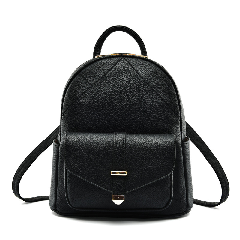 Women PU Leather Backpack Korean Style Minimalist Multifunction Bag Black Daypack for Travel Shopping School