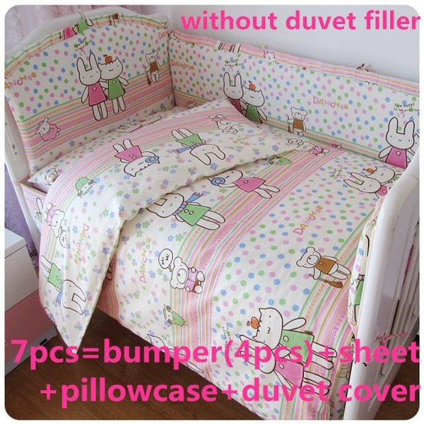 Promotion! 6/7pcs 100% cotton baby bedding sets ,bedding sets for crib set ,120*60/120*70cm