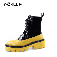 PUHLLM  Boot 2019Autumn and Winter Thick-soled Color Matching Boots England Retro Horse New Explosions Fashion Womens BootsF27