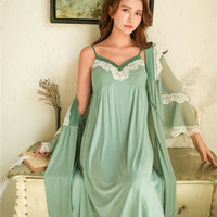 Sweet Lace Robe Sleepwear Girl Women Spring Summer Modal Sexy Nightgown Two piece Robes With chest pad