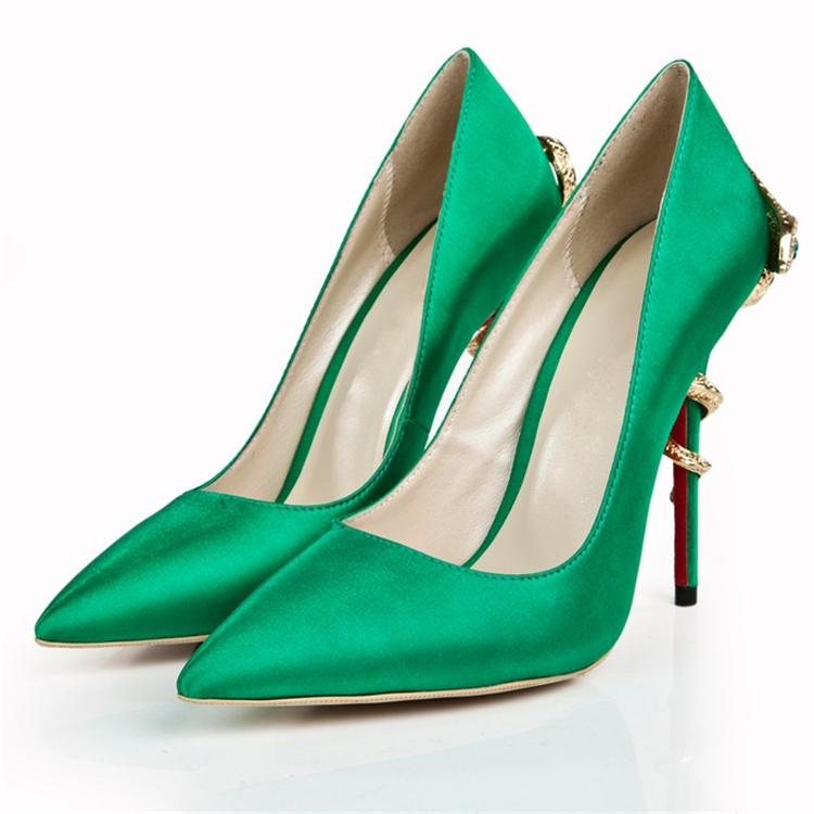 de Cobra en de color de honor estrecha nuevos punta Bombas de 2015 tacones y noche las boda zapatos dama de talón atractiva vestido fiesta verde novia de UqEgEv1w