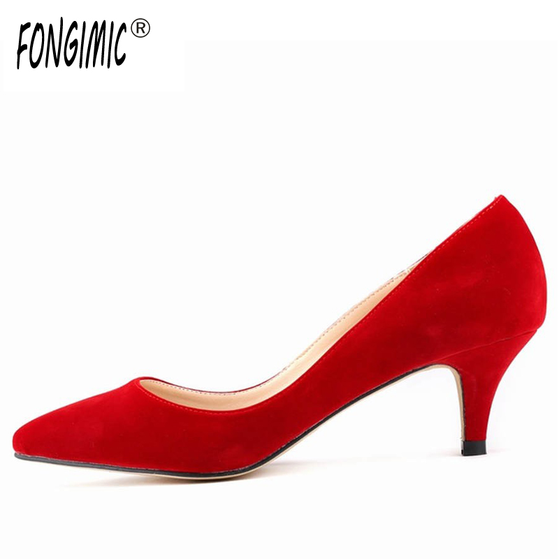 New Style Fashion women Comfortable solid  Flock pointed toe breathable thin heels All-match Spring Autumn slip-on pumps Shoes memunia 2017 fashion flock spring autumn single shoes women flats shoes solid pointed toe college style big size 34 47