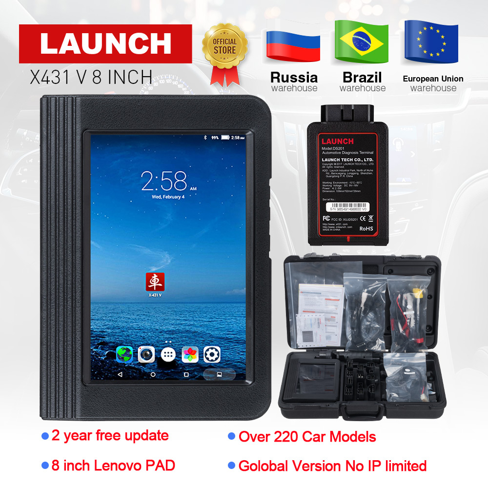 Launch X431 V 8 inch OBD2 diagnostic Scanner For Full system 11 Special functions Multi-language X431 V PK X431 pros PRO 3 Auto тестер аккумулятора launch x431