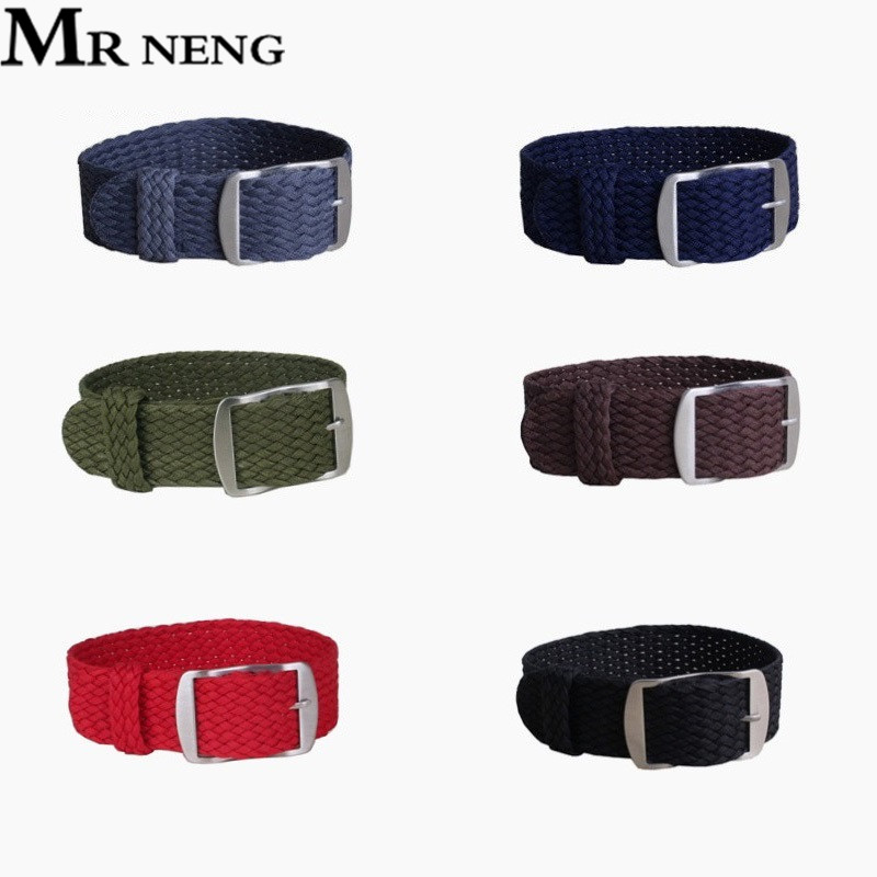 MR NENG Brand 1 PCS Fashion Nylon Woven Watchband Watch Strap 20mm 22mm For Perlon Black Navy Color Watch Strap14 16 18mm