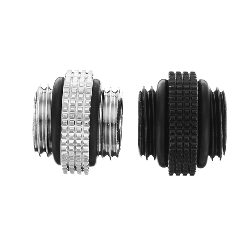 Black Silver G1/4 Mini External Thread Male to Male Water Cooling Rotary Fitting Adapter Water Cooling Connector Radiator barrow white black red g1 4 3 8od x 5 8od 10 x 16mm tubing hand compression fittings water cooling fitting