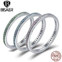 100% Plata de Ley 925 Real azul y rosa CZ anillos apilables anillo sencillo para dedo mujeres joyería fina regalo de San Valentín boda
