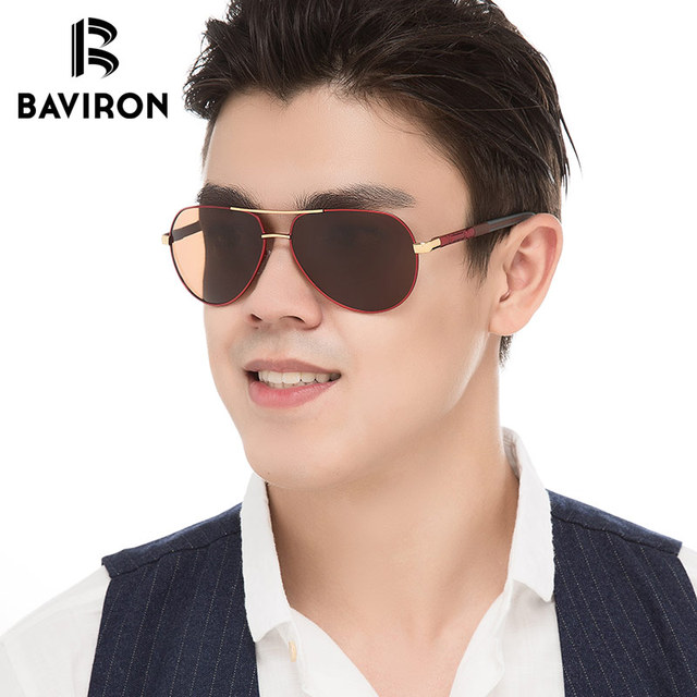 c11921e8515ca BAVIRON Marca Piloto Óculos De Sol Para Homens Oval Polarizada Espelhado  Lentes Coloridas Olhar Elegante Hipster