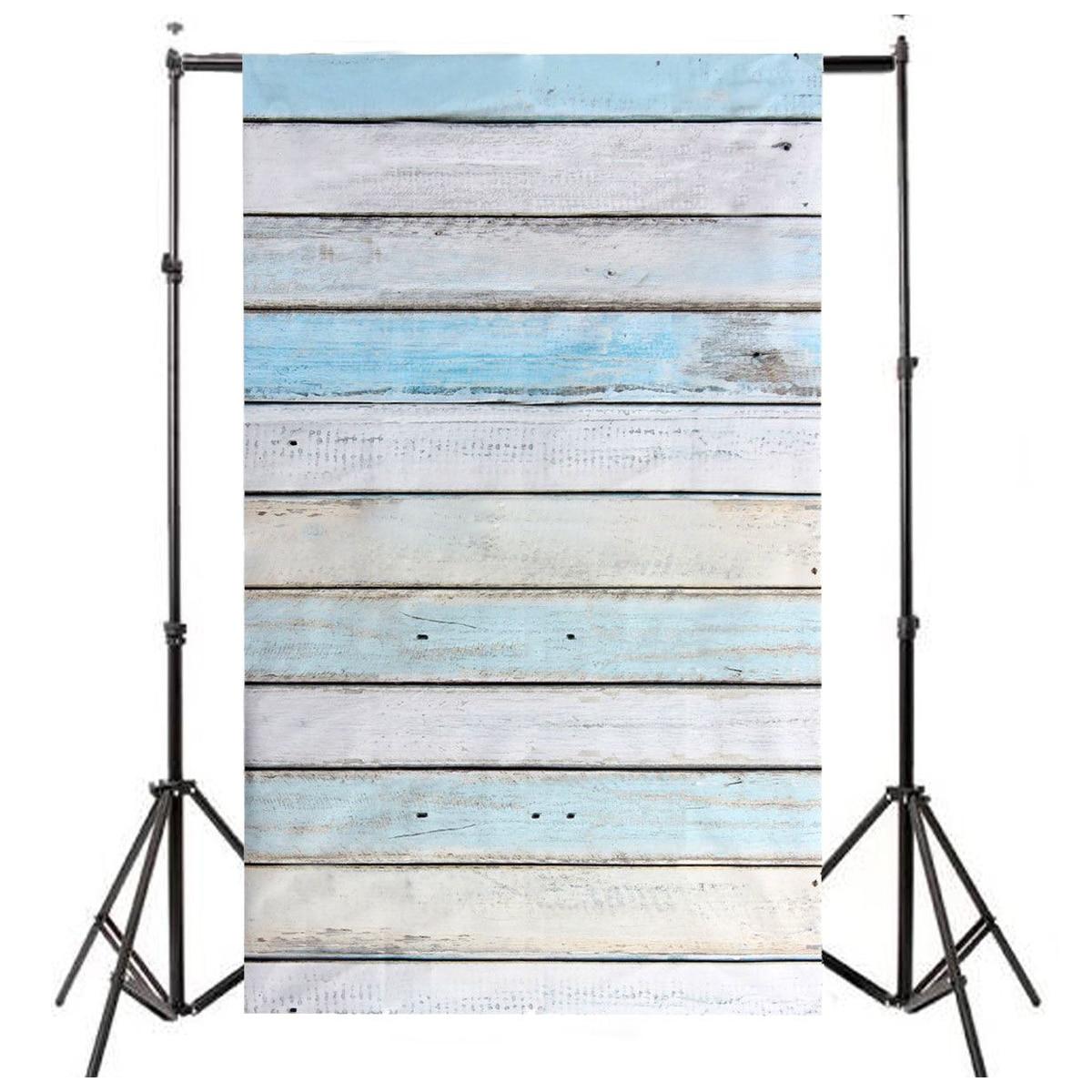 CES-3x5ft Light Blue Wood Wall Floor Backdrop Backgrounds Studio Photography Props цена и фото