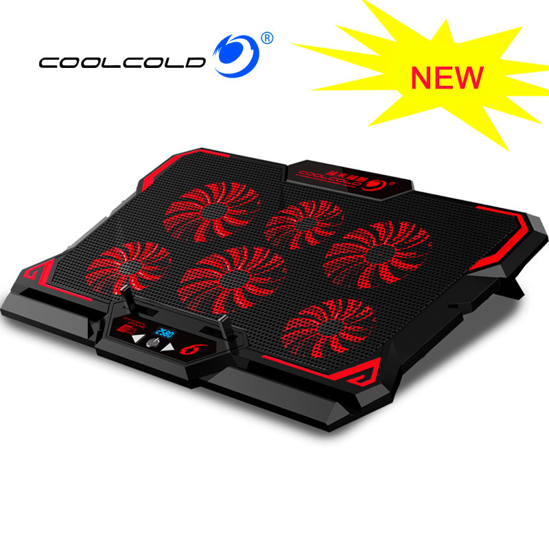 Wcxxhy Laptop Cooler Base Dual USB Ports Color : Multi-Colored 5 Fans Cooling Pad Ultra Quiet Computer Cooling Pad Base with Adjustable Stand