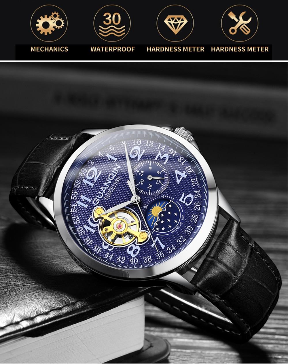 HTB1Df5ragaH3KVjSZFjq6AFWpXaw 2019 Fashion GUANQIN Mens Watches Top Brand Luxury Skeleton Watch Men Sport Leather Tourbillon Automatic Mechanical Wristwatch