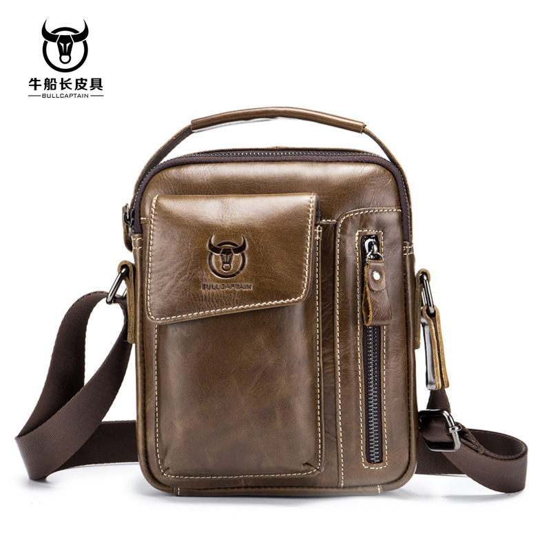 BULLCAPTAIN Genuine Leather Men Shoulder Crossbody Bags Cow Leather Fashion Handbag Brand Casual Men's Messenger Bag Black 2