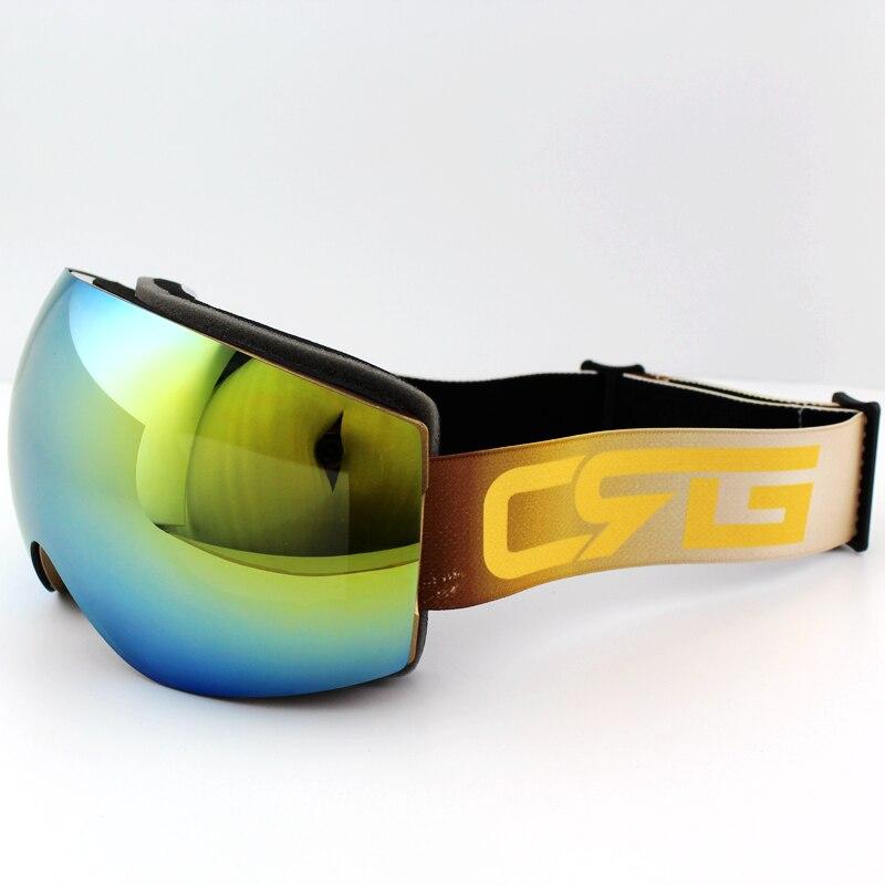 Prix pour Azur bleu Lentille Or Cadre Marque Ski Lunettes Double UV400 Anti-Brouillard Grand Masque de Ski Lunettes de Ski Hommes Femmes Neige Snowboard lunettes