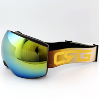 Azure Blue Lens Gold Frame Brand Ski Goggles Double UV400 Anti Fog Big Ski Mask Glasses