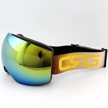 Azure blue Lens Gold Frame Brand Ski Goggles Double UV400 Anti Fog Big Ski Mask Glasses