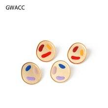 GWACC 2019 Original Design Handmade Graffiti Stud Earrings For Women Girls Cute 2 Colors Minority Creative Personality