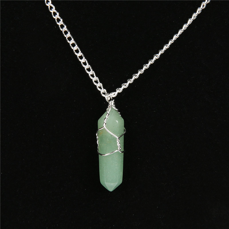 NATURAL STONE POINT Necklace Rose Quartzs Sterling Silver Wire ...