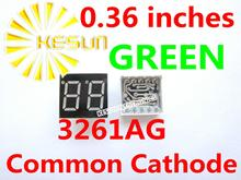 FREE SHIPPING 20PCS x 0.36 inches Green Common Cathode 2 Digital Tube 3261AG LED Display Module