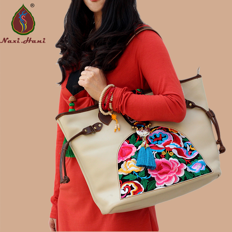 ФОТО Newest Ethnic Cow Split Leather Big Capacity Embroidered shoulder bags Fashion women white Naxi.Hani Brand handbags