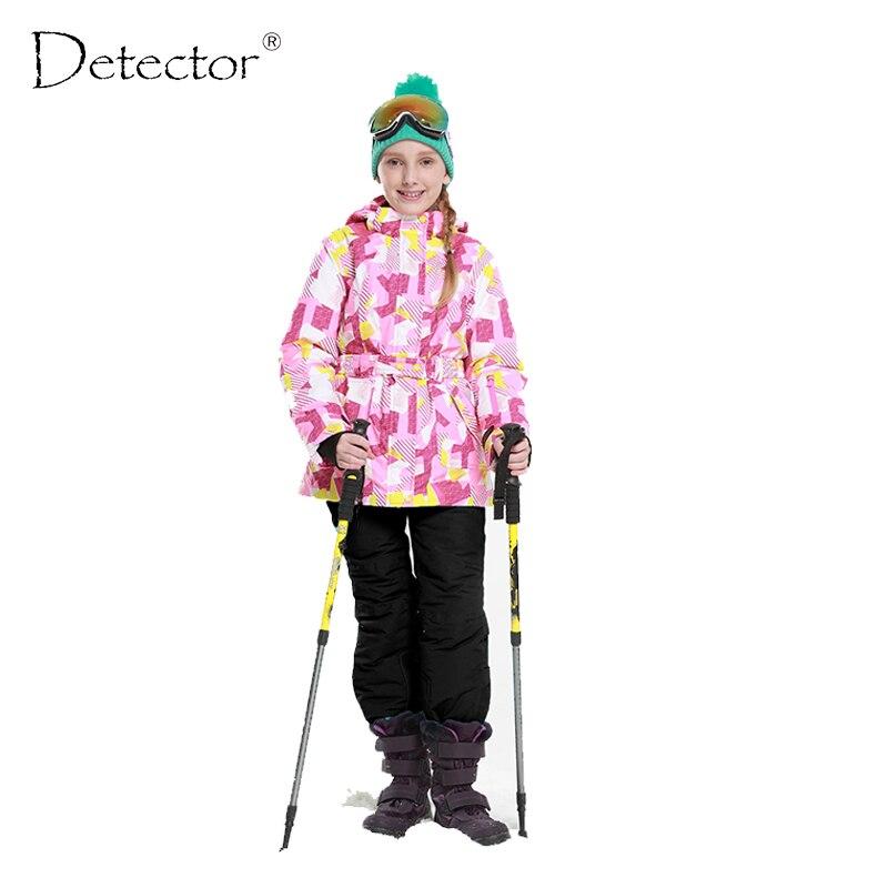 Detector 2016 Girls Ski Set Winter Warm Ski Jacket Chilldren Outdoor Waterproof Windproof Snowboard Suit obermeyer nateal ski jacket girls