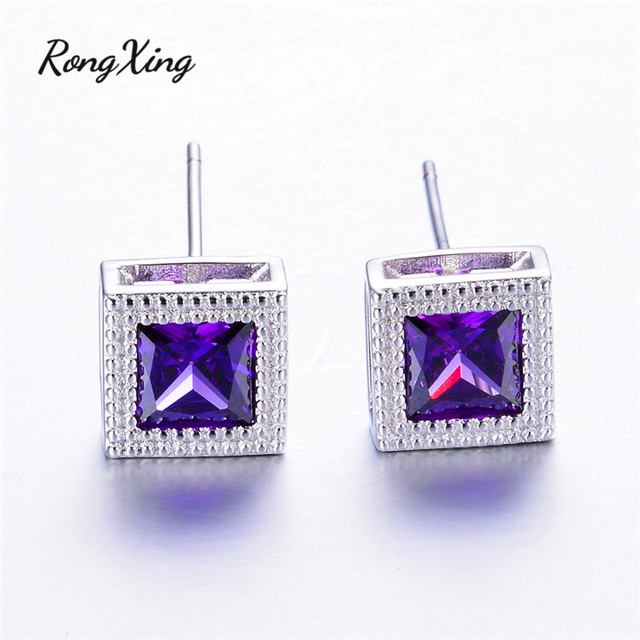 Rongxing 925 Sterling Silver Filled Square Multicolor Birthstone Earrings Mystic Aaa Zircon Stud For Women