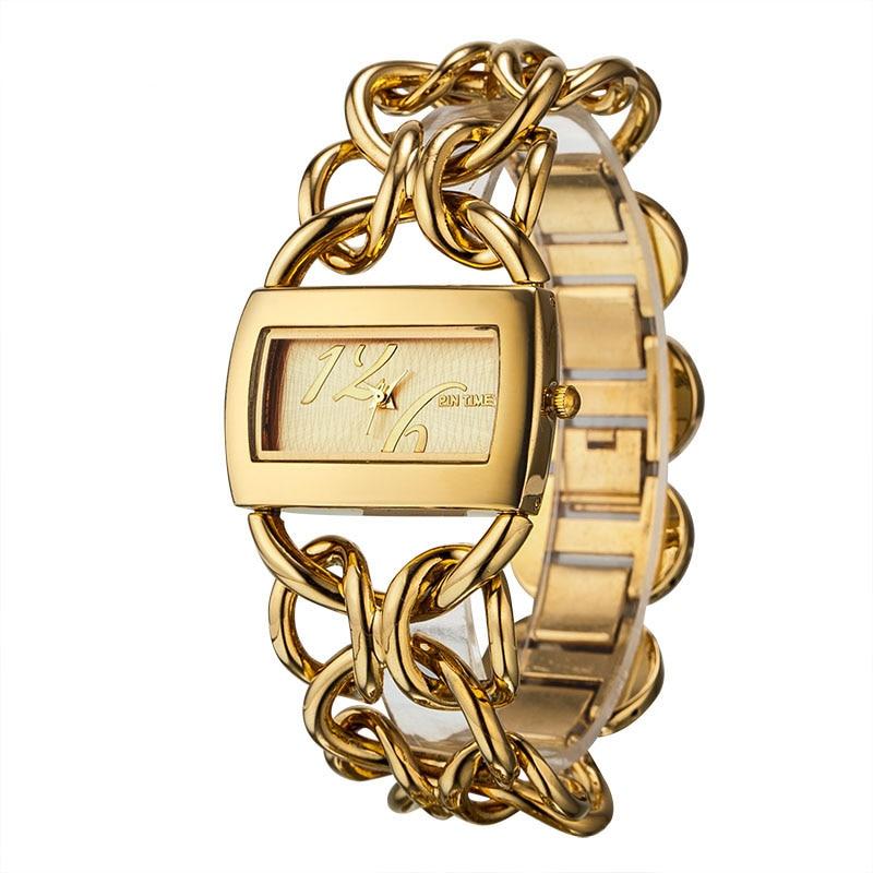 Prix pour Mode D'or Quartz Bracelet Femmes Montres reloje mujer De Luxe Complet En Acier Inoxydable Robe Dames Montre Relogio Feminino