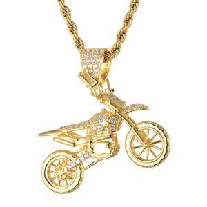 Image 5 - HIP Hop pełna AAA Iced Out Bling CZ Cubic cyrkon miedź fajne motocyklowe wisiorki i naszyjniki dla mężczyzn biżuteria hurtowych