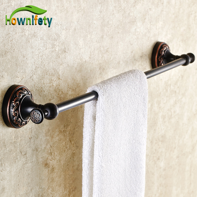 Oil Rubbed Bronze Bathroom Single Towel Bar Flower Carved Towel Hanger/Rack Bathroom Accessories allen roth brinkley handsome oil rubbed bronze metal toothbrush holder
