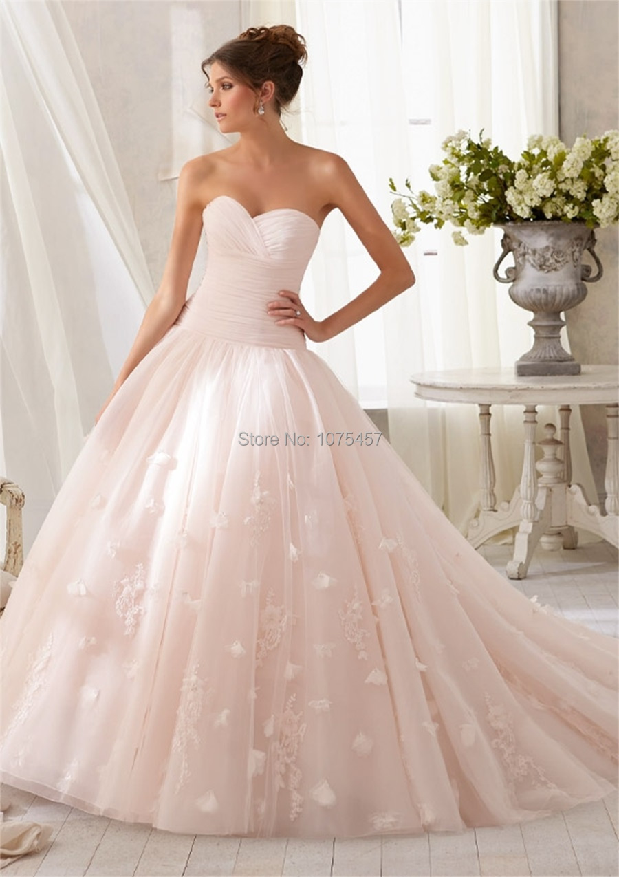 New Arrival Blush Pink Wedding Dress 2015 Sweetheart Appliques ...