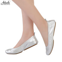Aohaolee 5 Fashion Pointed Toe Women S Leather Shoes Ballet Flats Slip On Plus Size Genuine