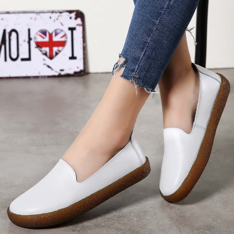 Women Flats Shoes Genuine Leather Slip-on Round Toe Muscle Sole Ladies casual Shoes Comfortable Soft Shoes Female Fall new fashion luxury women flats buckle shallow slip on soft cow genuine leather comfortable ladies brand casual shoes size 35 41