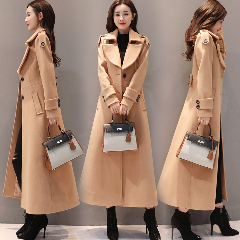 Coréenne De Pardessus Taille Dames Mode Nouveau Colour La Manteau Chaud caramel Long Noir Épaisse red Plus Veste Laine Femmes Hiver Black 2019 Extra camel Automne qUptUH7
