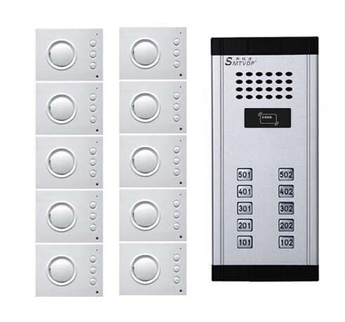 SMTVDP Intercom System Audio Door Phone for 10 apartments, 4-wired Audio Doorphone With Hand-free Indoor Units ,ID Card Unlock