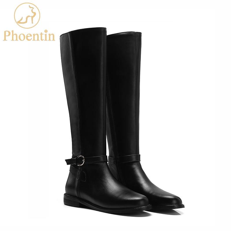 Phoentin genou haute bottes d'équitation avec fermeture à glissière 2019 véritable cuir équestre longues bottes femmes talons plats bout rond chaussures FT559