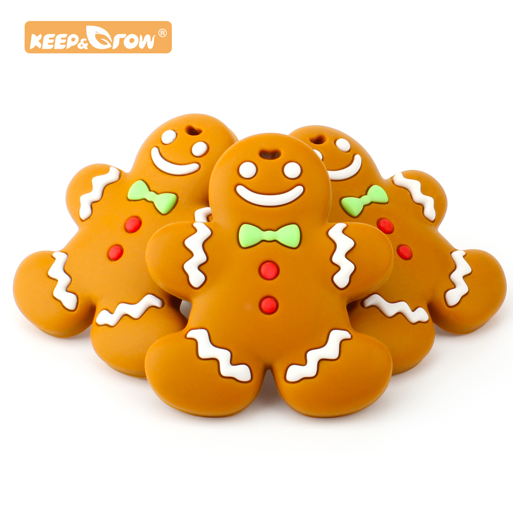 Keep&Grow 1pc Gingerbread Man Baby Teether BPA Free Silicone Teether DIY Crafts Accessories Holiday Gift Teething Toys