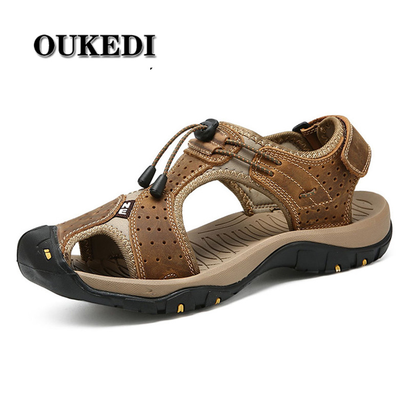 2019 Popular Men Beach Sandals Outdoor Summer Men Shoes Sandals Genuine Leather Casual Breathable Sandal Plus Size 47 48(China)